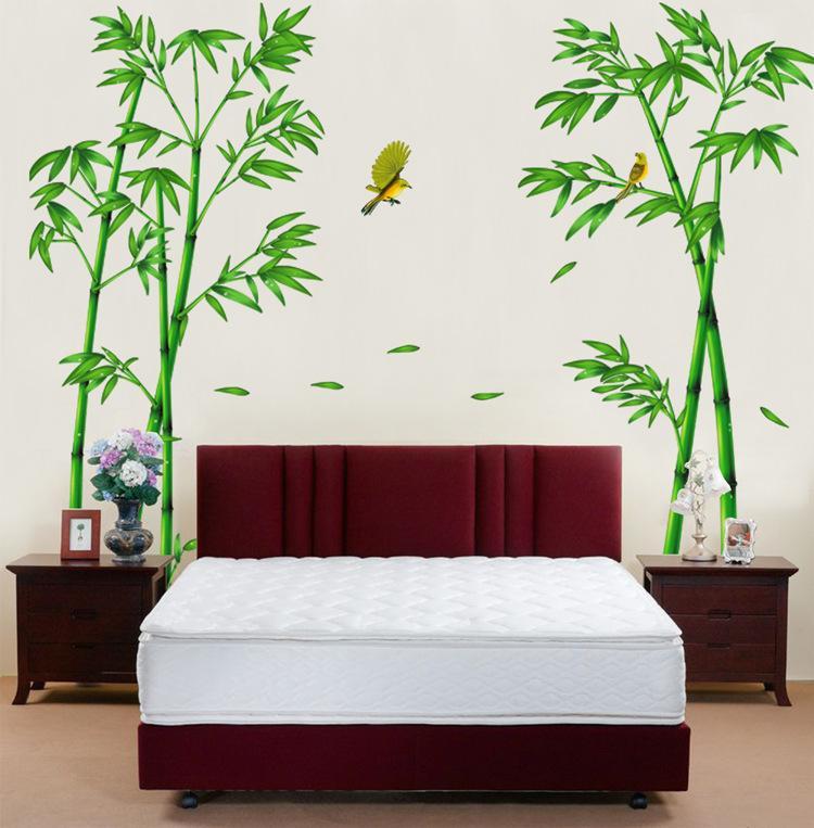[ Size Lớn ] Decal dán tường kết hợp Hoa Sen Hồng và Bụi Tre  AM9104+XL8292