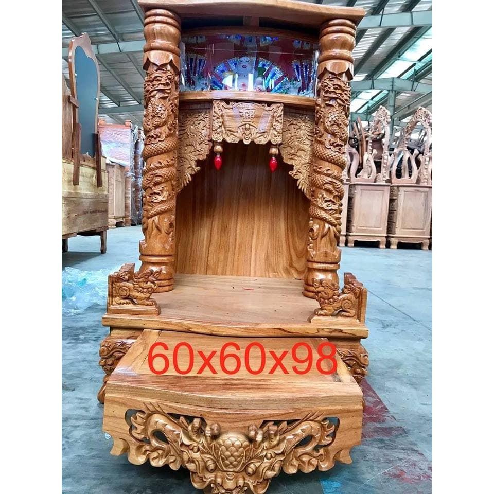 Bàn thờ thần tài ông địa gỗ gõ đỏ 60  X 98cm BTGHD610