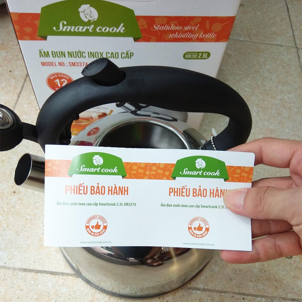 Ấm đun nước Inox 304 Elmich Smartcook 2.5L SM3374 dùng bếp từ - Hàng chính hãng