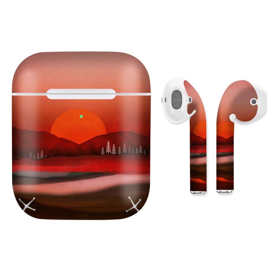 Miếng dán skin cho AirPods in hình giả sơn mài - GSM006 (bản không dây 1 và 2)