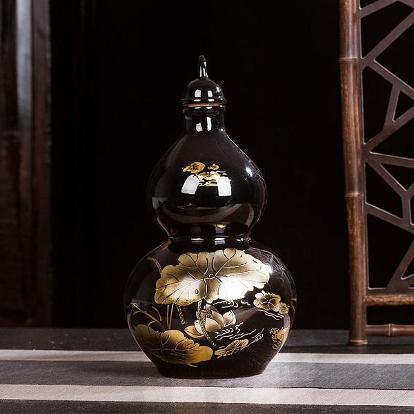 Bình đựng rượu quà tặng gốm sứ cao cấp để bàn bình hồ lô hoa văn hồ sen