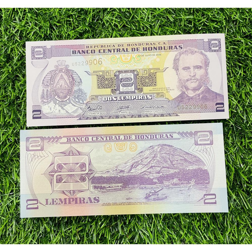 Tiền Honduras 2 Lempiras, tiền xưa Nam Mỹ, mới 100% UNC, tặng túi nilon bảo quản