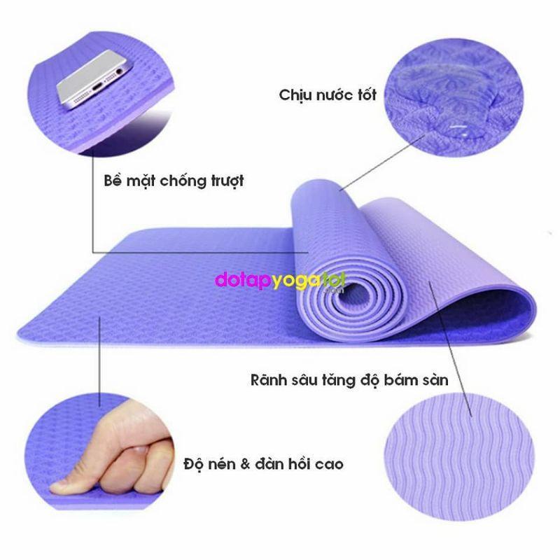 Thảm yoga cao cấp TPE 2 lớp dày, thảm chống trượt + Tặng kèm túi đựng