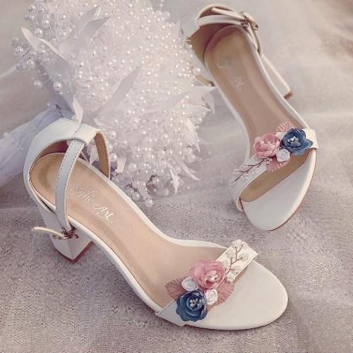 Giày cưới Nghé Art sandal hoa hồng xanh vintage 240