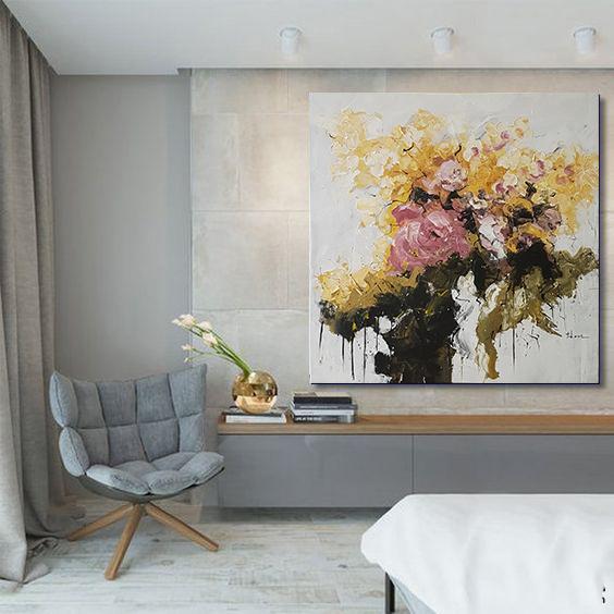 Tranh vẽ hiện đại cành hoa vàng