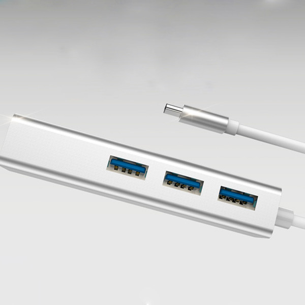 Cáp Type-c3.1 to RJ45/USB 3.1 HUB 1000MBPS DEVIA - Hàng chính hãng (Bạc)