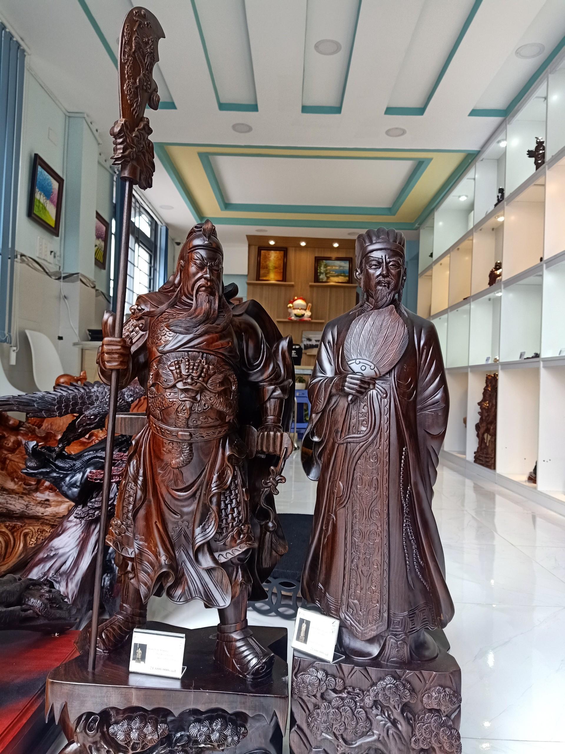 Tượng gỗ Quan công+Khổng Minh( gỗ mun hoa)