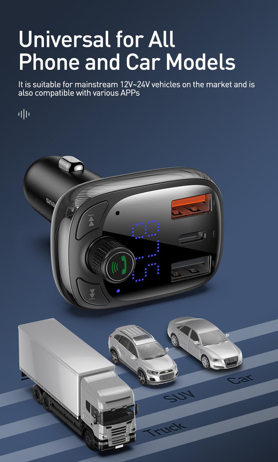 Tẩu sạc nhanh T Type Wireless MP3 Charger trên oto Baseus S-13 (CCTM-B01) - Hàng chính hãng
