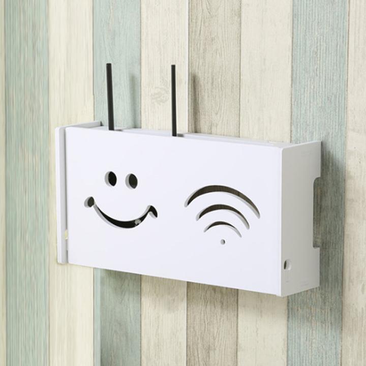 Kệ wifi chữ nhật Mặt Cười treo tường không khoan tặng kèm móc treo cường lực