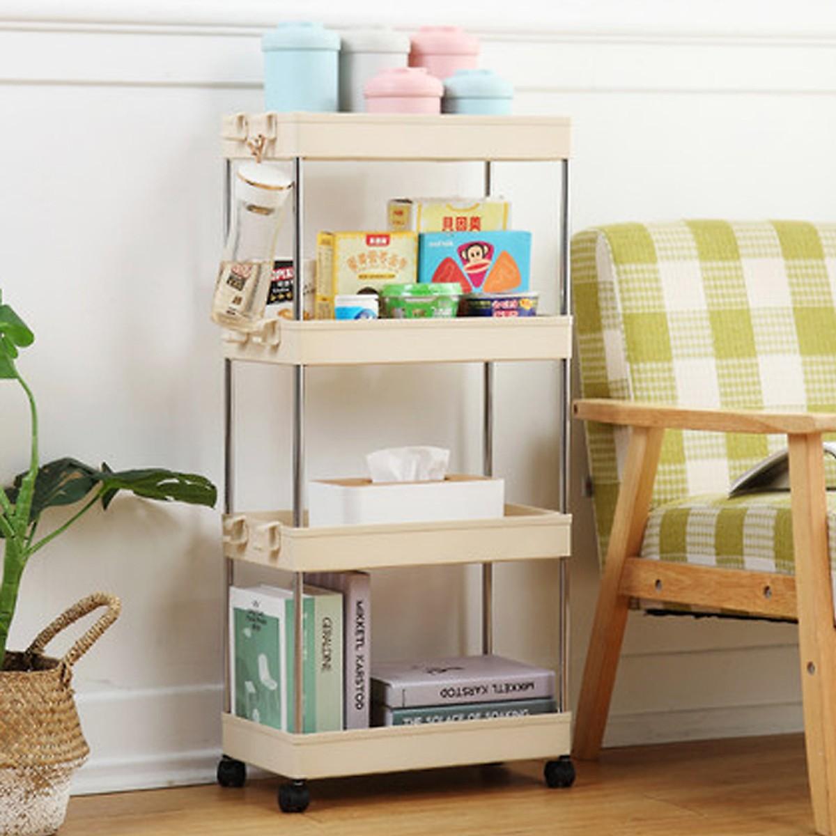 Kệ để đồ dùng nhà tắm đa năng nhiều tầng làm từ nhựa ABS có hình chữ nhật mới nhiều màu, giá để đồ nhà bếp, dụng cụ gia đình tiện ích có bánh xe thiết kế thông dụng nhiều mục đích trong gia đình