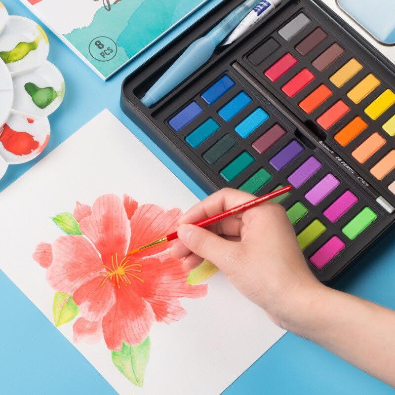 Bộ 36 Màu Nước Cao Cấp Tặng Kèm Bút Nước, Bút Lông, Bút Chì ,Miếng Mút , Giấy Vẽ
