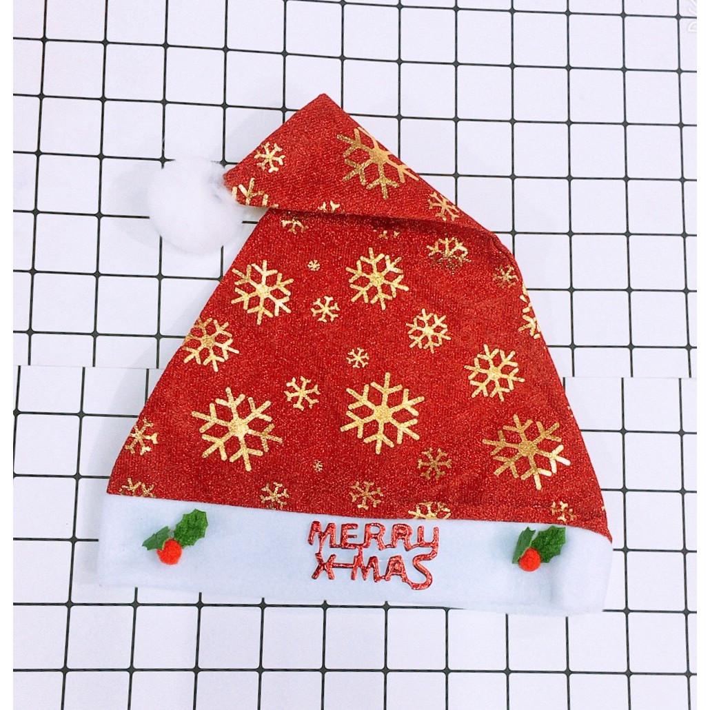 Mũ ông già Noel Giáng Sinh hình bông tuyết đính họa tiết nổi loại đẹp