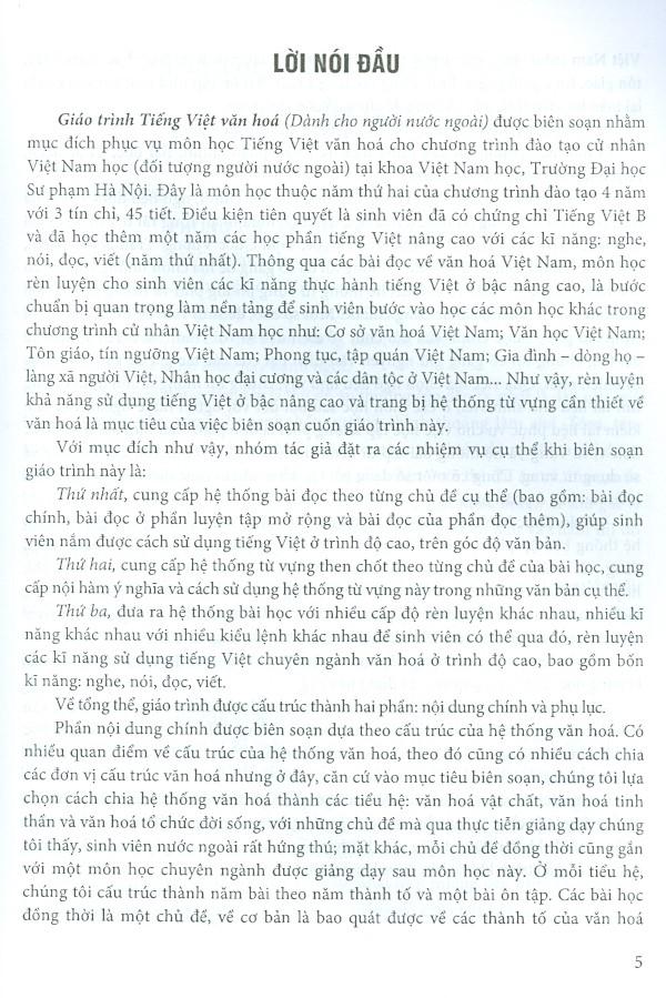 Giáo Trình Tiếng Việt Văn Hóa (Dành Cho Người Nước Ngoài)