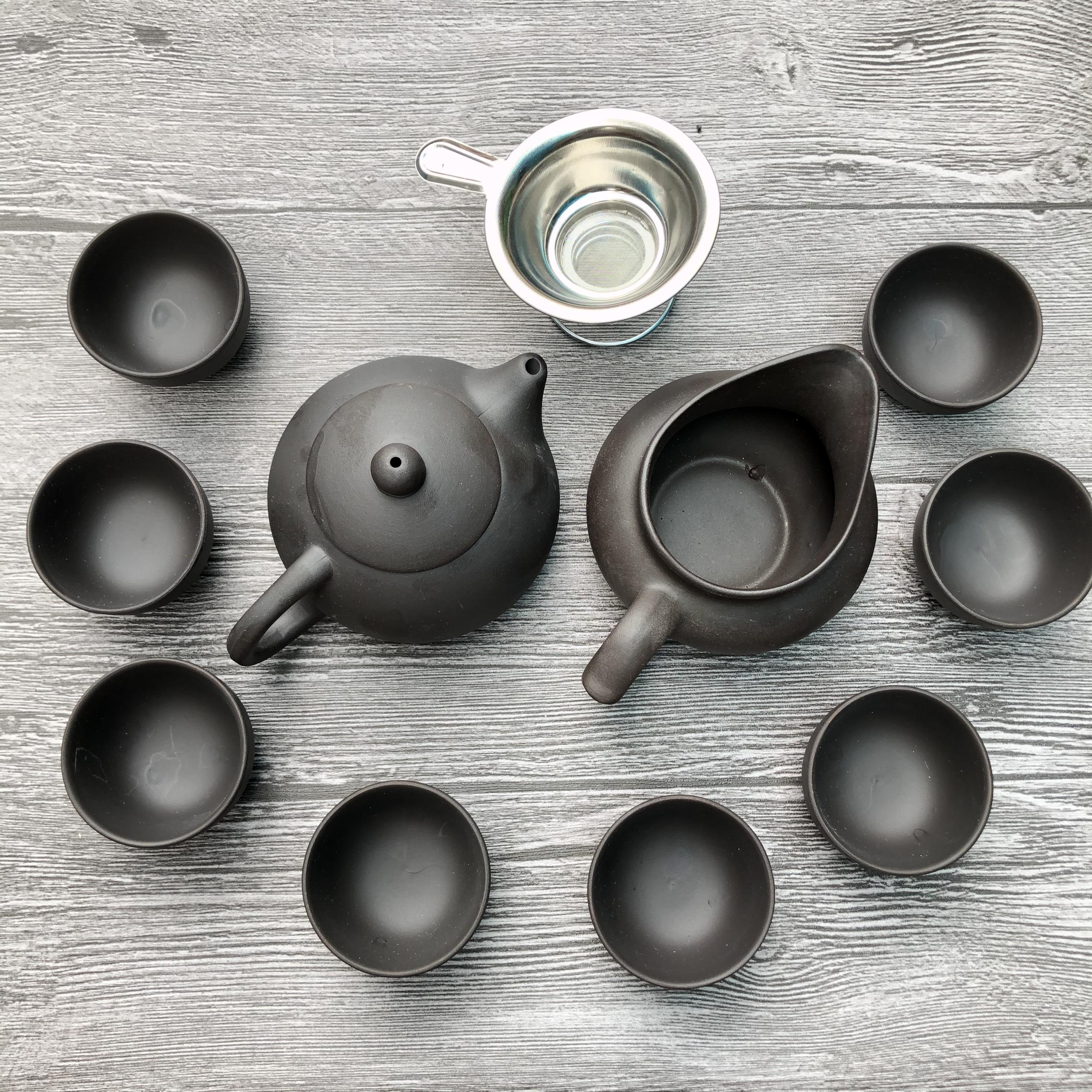 Bộ tách trà đất nung kèm lọc trà nhôm
