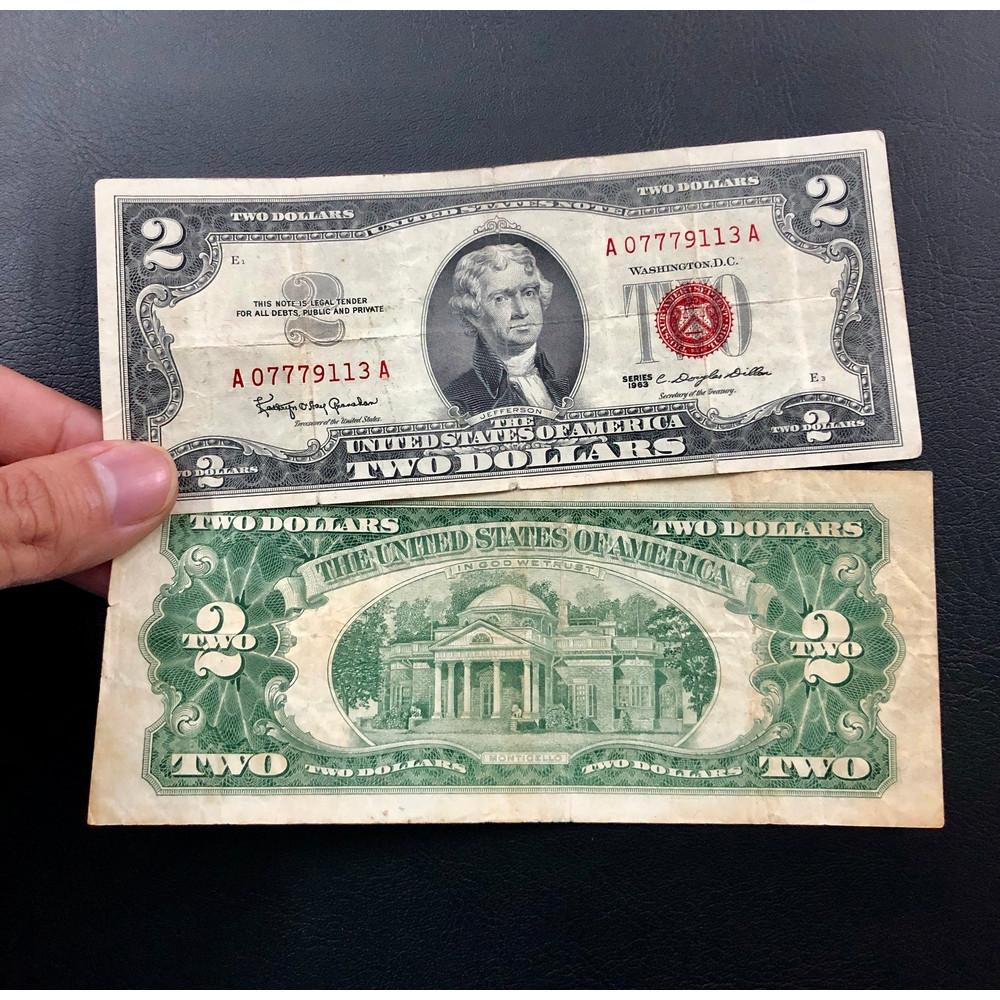 2 Đô mộc đỏ 1963 may mắn, tiền xưa Mỹ - The Merrick Mint
