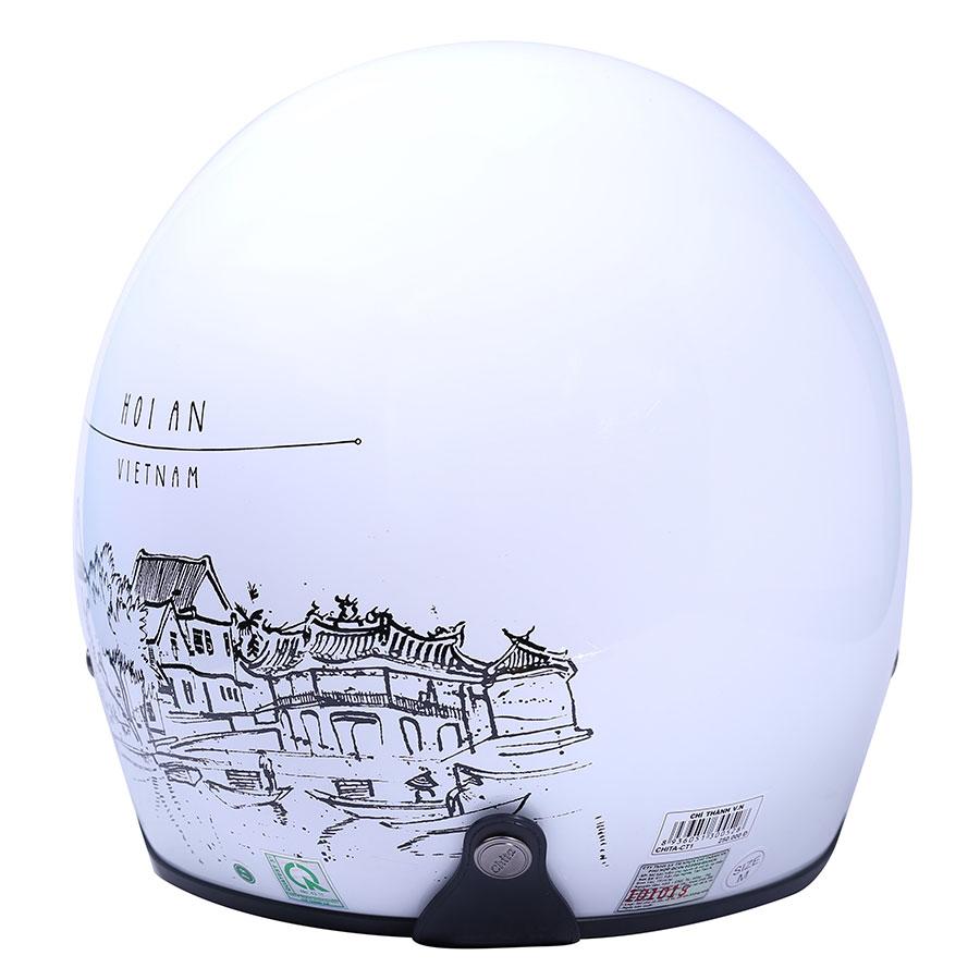 Mũ Bảo Hiểm Chita 3/4 CT1 - Trắng Sơn Bóng Tem Hội An