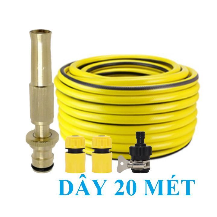 Bộ dây vòi xịt nước rửa xe, tưới cây , tăng áp 3 lần, loại 20m 206587 cút sập, nối đen
