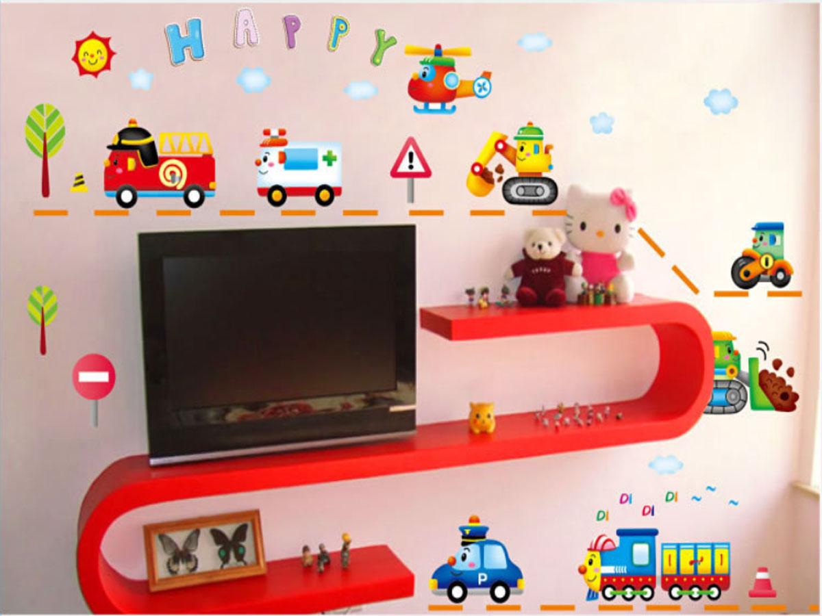 Decal dán tường ô tô, máy xúc, phương tiện giao thông