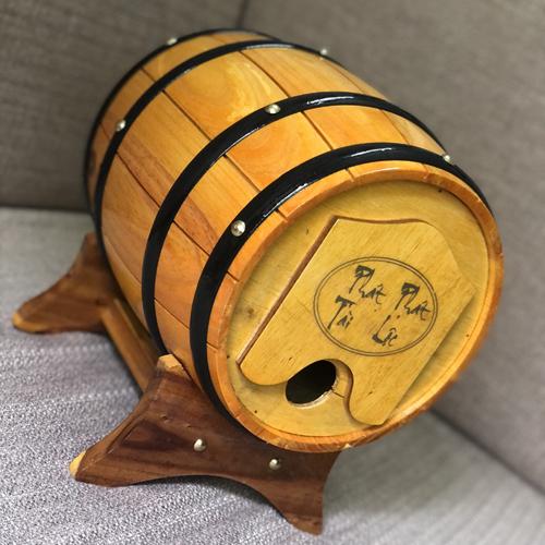 Trống gỗ đựng rượu vang Mẫu xẻ rãnh - Màu vàng