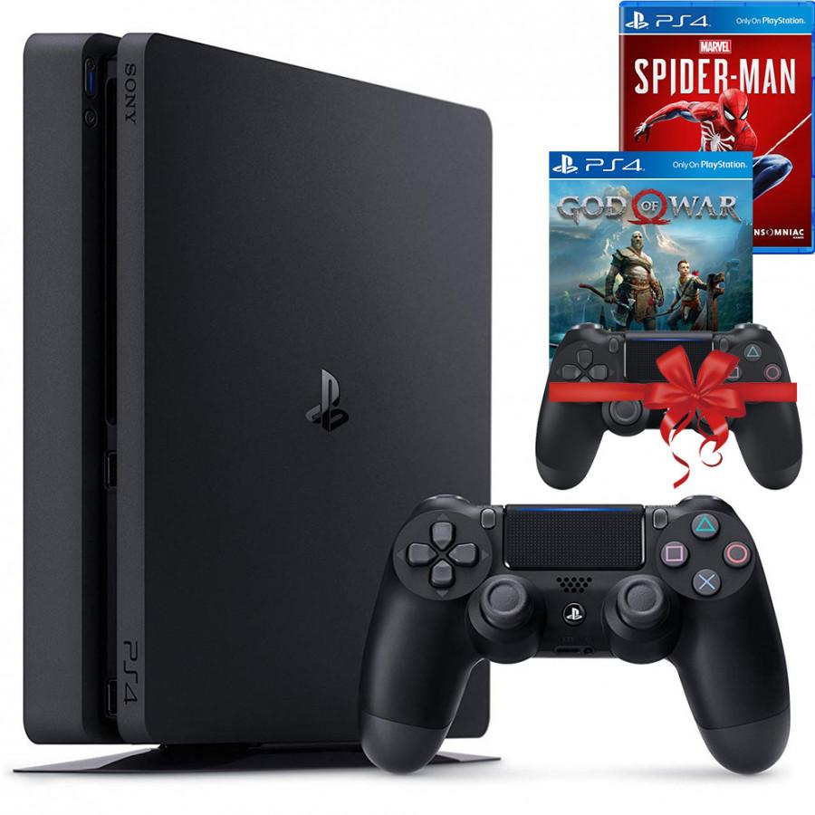 Bộ máy PS4 Slim 1TB CUH-2218B kèm 2 tay bấm + 2 đĩa game God Of War, Spider Man - Playstation Hàng chính hãng
