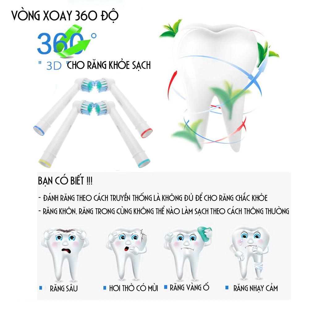 Cho máy Braun Oral-B, Bộ 4 đầu bàn chải đánh răng điện - Đánh bật cao răng- EB-25A-Cho răng sáng bóng