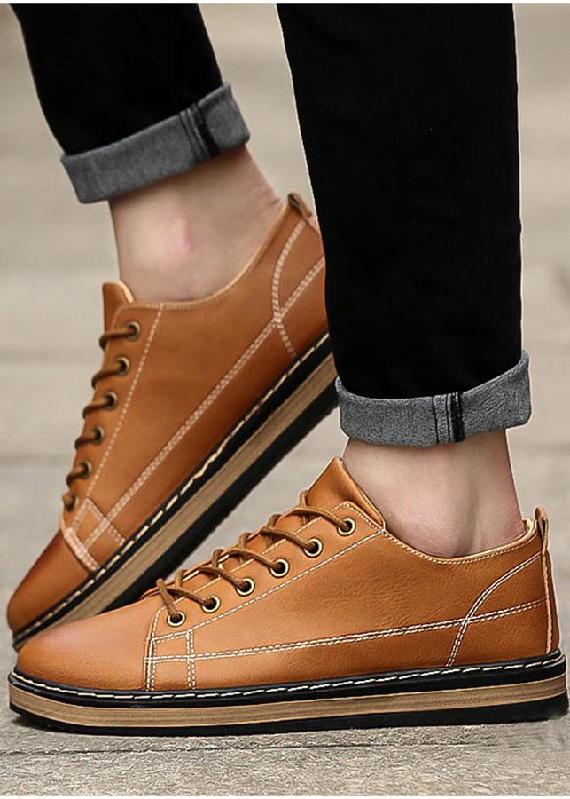 Giày Nam Cổ Thấp Chống Thấm Màu Nâu Đồng - Mã SV51