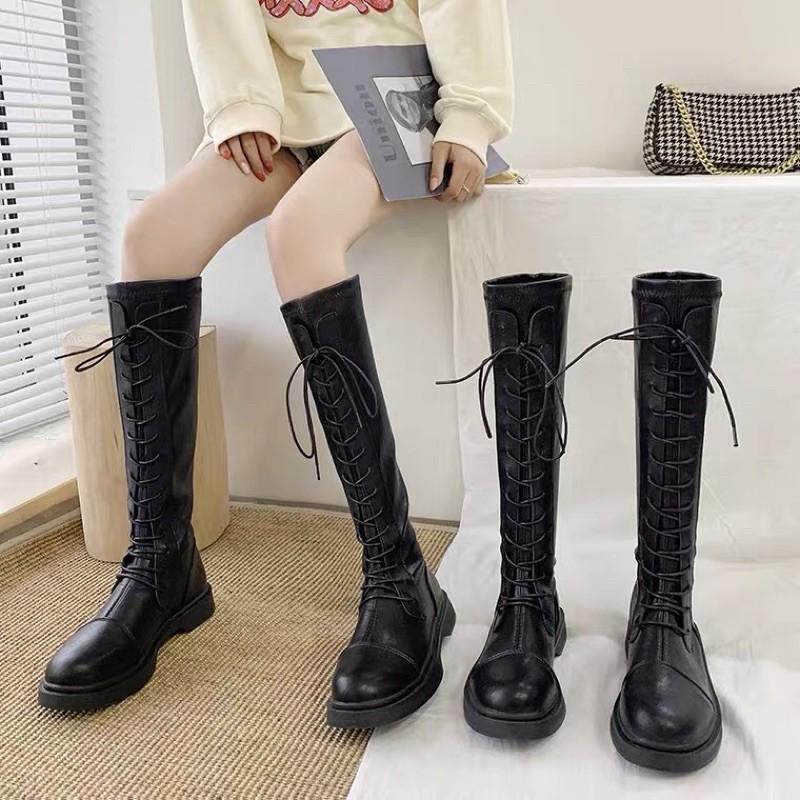 (Sẵn 36 38 39 40)Boots đùi nữ đan dây cao ôm chân sang chảnh - 2 ảnh thật cuối