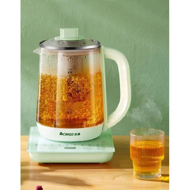Ấm Đun Trà Điện Cao Cấp Chigo (1,8L - 800W) - Bình thủy tinh, có thể pha trà xanh, đun nước, nấu súp đa năng - Hàng Chính Hãng