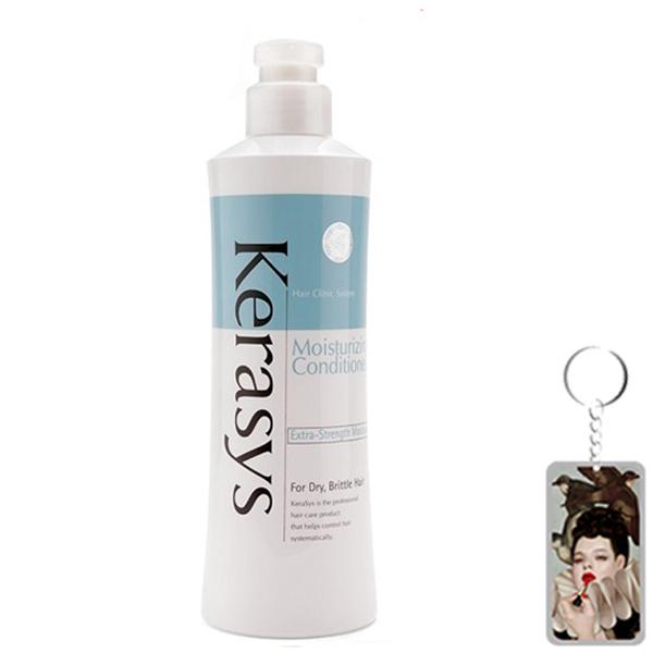 Dầu xả Kerasys Moisture cân bằng độ ẩm cho tóc xơ rồi Hàn Quốc 600ml tặng kèm móc khoá