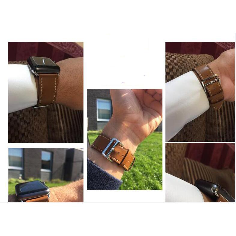 Dây da đeo thay thế cho Apple Watch 42mm / 44mm hiệu Kakapi da bò thật (Trơn) - Hàng chính hãng