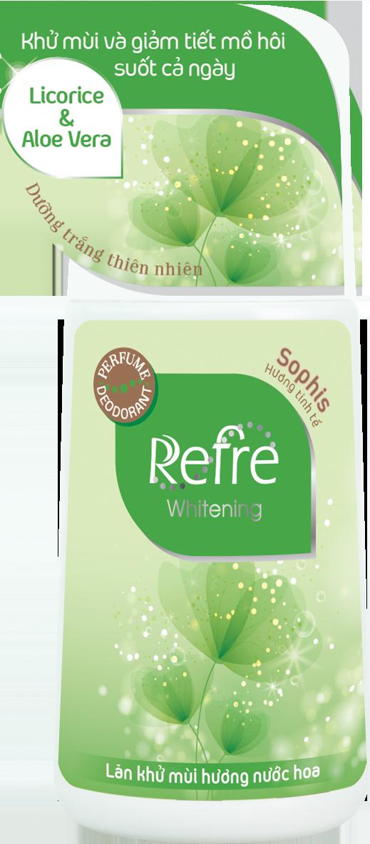Lăn Khử Mùi Dưỡng Trắng Hương Nước Hoa Refre Whitening - Sophis (40ml) + Tặng móc gỗ dán tường xinh xắn