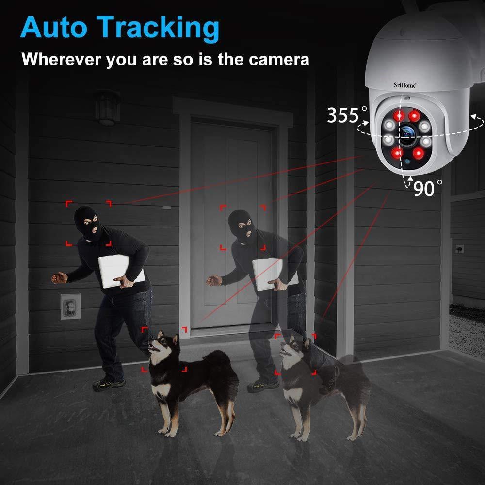Camera IP Wifi ngoài trời PTZ SriHome SP028 2.0MP FullHD 1080P, Xoay 355 độ, chống nước IP66 (Trắng) HÀNG CHÍNH HÃNG