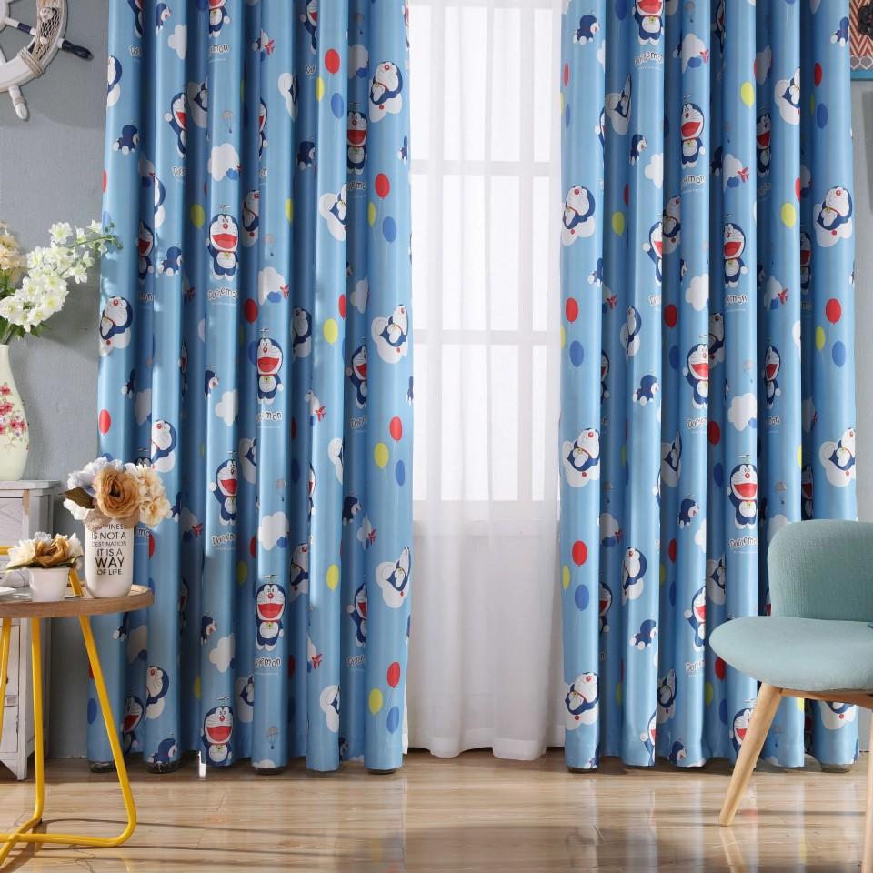 Rèm vải treo cửa chắn sáng họa tiết đô rê mon (1m ngang x 2.7m cao)