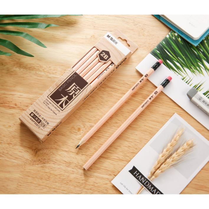Hộp chì chuốt M&G ngòi HB thân gỗ, gôm đỏ AWP30870-hộp 12 cây