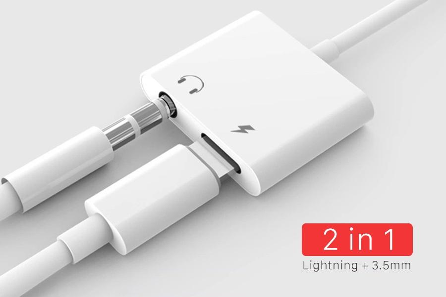 Cáp chuyển đổi vừa sạc vừa nghe điện thoại cho iphone  cổng Lightning sang jack Audio 3.5 (Hàng Chính Hãng)