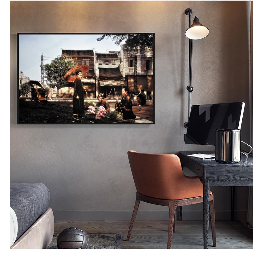Tranh lụa Màu nước Phong cảnh phố cổ Hà Nội xưa cao cấp Trang trí Phòng khách. (Bộ 1 bức), Khung hợp nhôm chống ẩm, bền, đẹp, nhiều kích thước. Phù hợp nhiều không gian sang trọng.