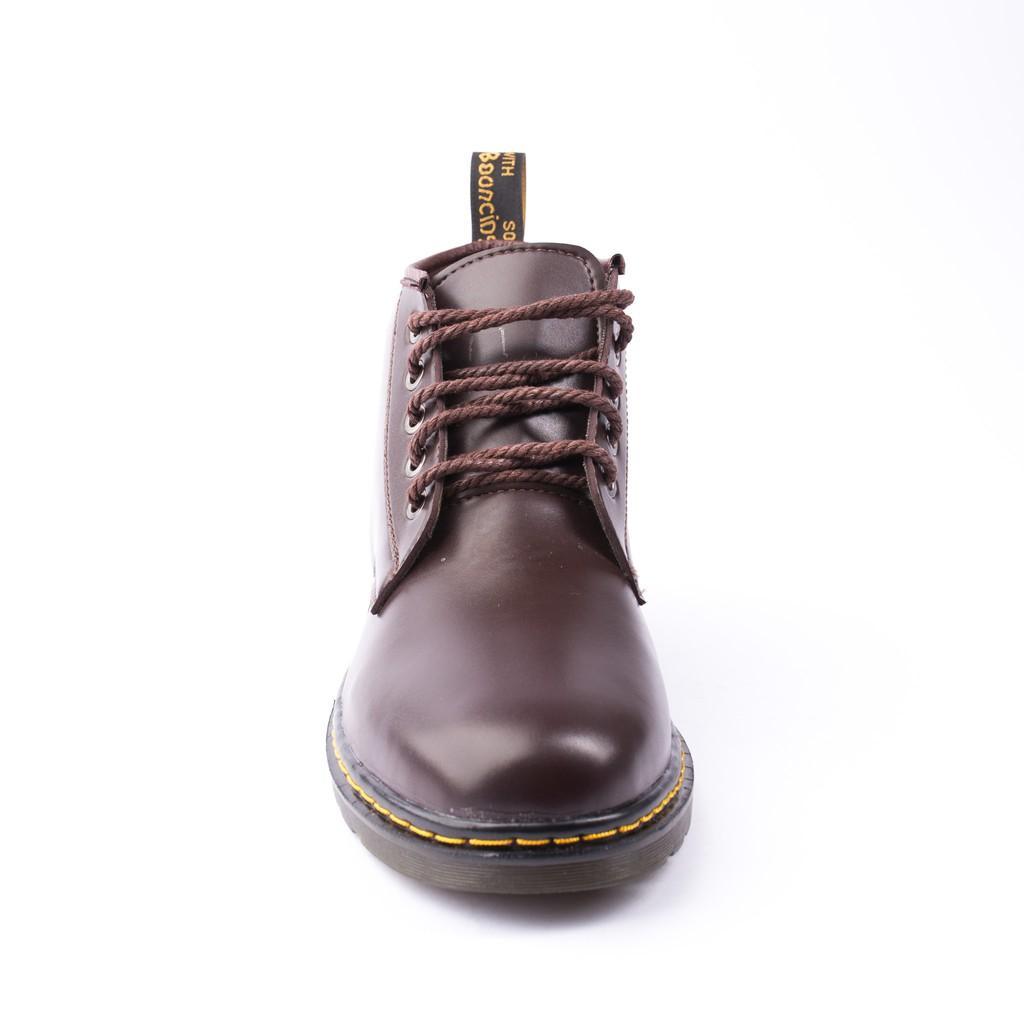 Giày Boot Nam Cổ Lửng Đế Khâu Da Trơn Màu Nâu Phong Cách - M354-NAU(TL)-NAU
