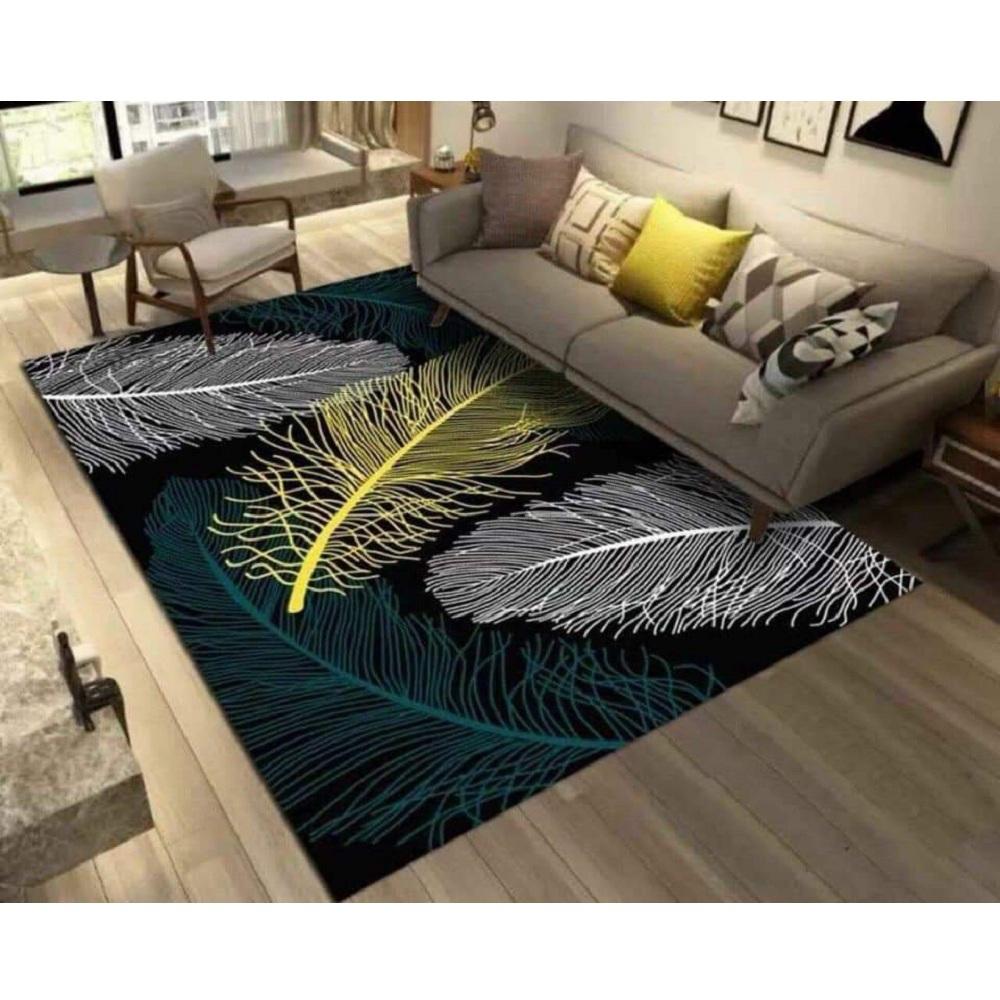 Thảm trải sàn trang trí phòng khách Bali in 3D Nhung nỉ lì cao cấp sang trọng hiện đại BL27 - Kẻ châu âu