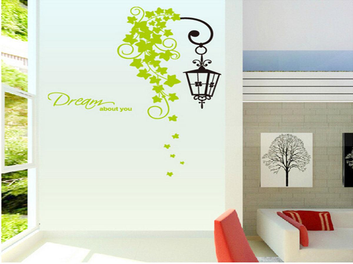 Decal dán tường cột đèn xanh dream
