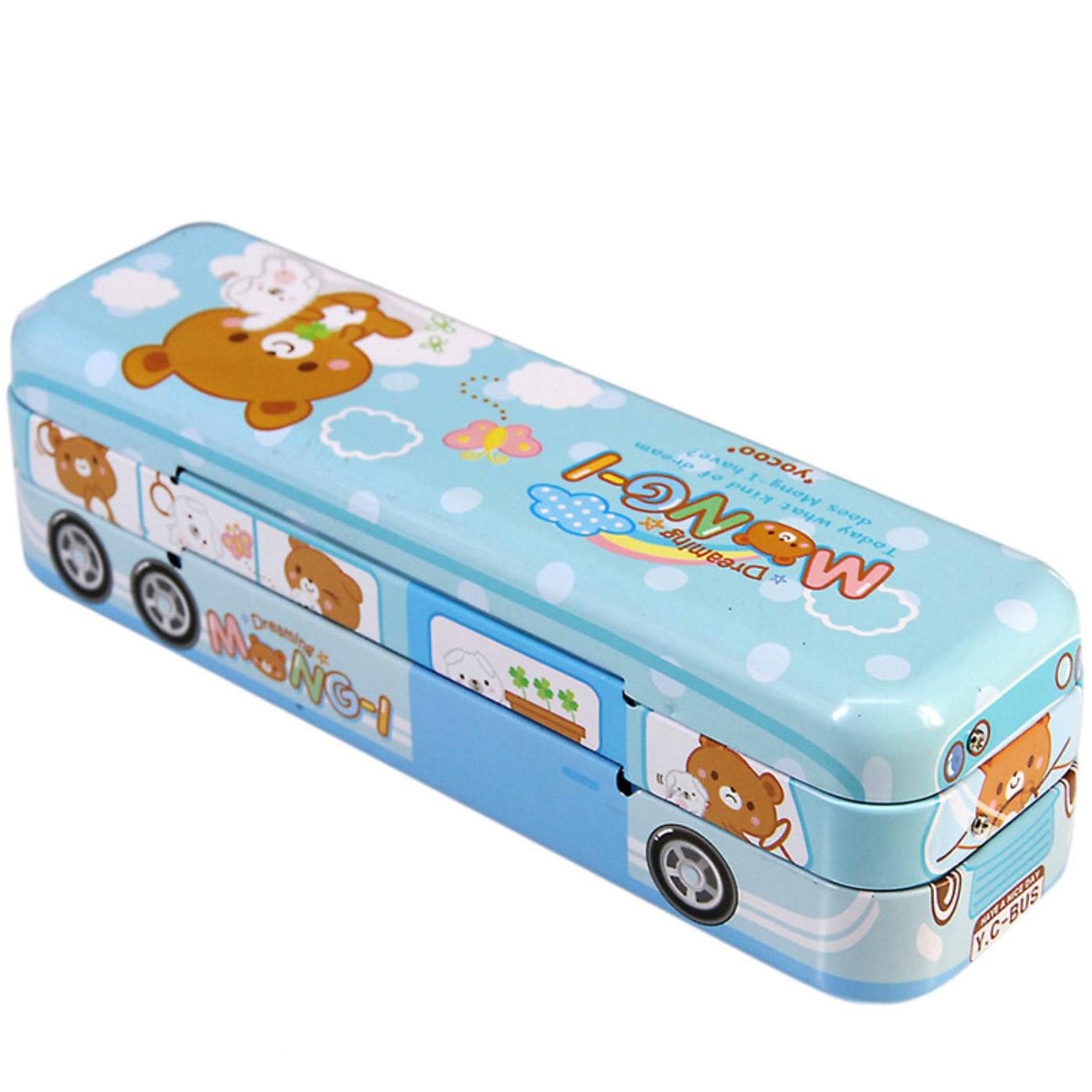 Hộp bút sắt Mongi hình xe Bus có dây cót 22x6x6cm