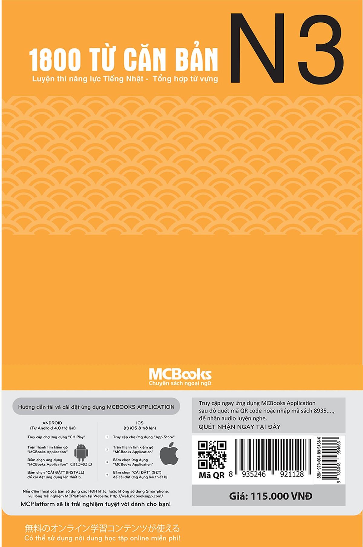 Luyện Thi Năng Lực Tiếng Nhật Tổng Hợp 1800 Từ Vựng N3 (Học Kèm App: MCBooks Application) (Tặng Kèm Bút Hoạt Hình Cực Xinh)
