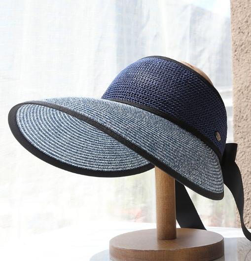 Mũ rộng vành chống nắng gắn nơ phong cách Hàn, nón chống nắng nửa đầu thời trang