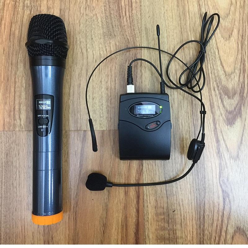 Bộ micro không dây Mitsunal I66 (1 micro không dây cầm tay + 1 micro không dây đeo tai) - Hàng chính hãng