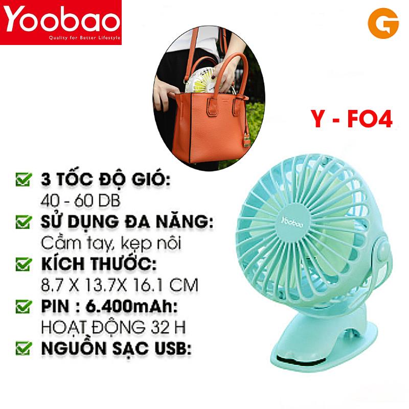 Quạt sạc mini Yoobao Y-F04 kẹp, để bàn xoay góc 720 độ, 32 tiếng, 6400 mAh màu xanh bạc hà- Hàng chính hãng