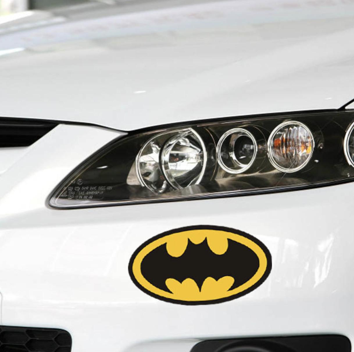 NGƯỜI DƠI LOGO VÀNG - Sticker transfer hình dán trang trí Xe hơi Ô tô size 14.5x8cm
