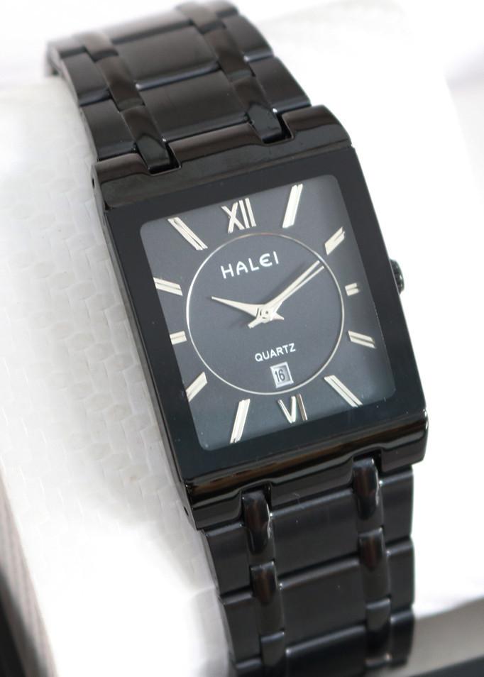 Đồng hồ Nam HALEI H564 mặt vuông chữ nhật lich ngày sang trọng dây thép không gỉ