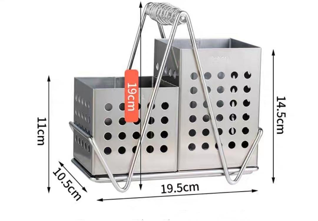 Giá inox 304 đựng đũa gắn tường 2 ngăn đa năng [ TẶNG chổi quét bụi mini có nam châm hút tiện ích ]  ống đãu nhà bếp, khay đũa 2 ngăn inox 304