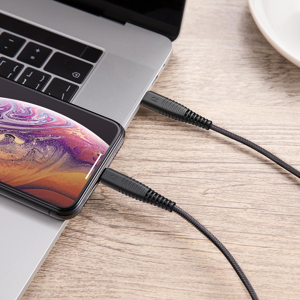 Cáp USB-C to Lightning Ravpower RP-CB020 1m - bện cước - MFi | Hàng Chính Hãng