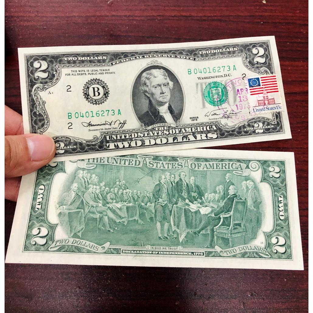 Tờ 2 USD 1976 may mắn dán tem đóng dấu bưu điện ngày phát hành đầu tiên 14-3-1976, hiếm gặp