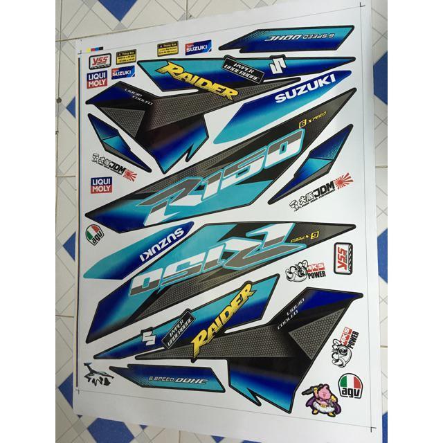 Tem dán dành cho xe máy Raider Fi mẫu R150 phối xanh lục chuyển